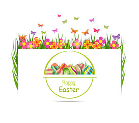 easter egg spring with grass and butterfly greeting card