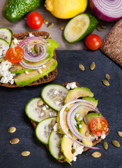 avocado sandwich and vegetables