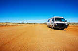 Backpacker Van On A Desert Road