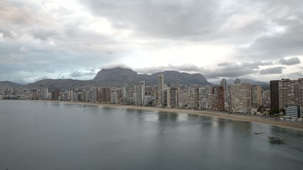 time-lapse of the city of Benidorm at dusk