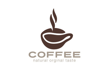 Coffee cup Logo cafe bar with steam design vector template