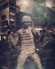 zombie soldato con pistole