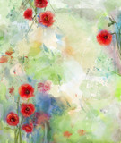 Red poppy flower with scenic watercolor background