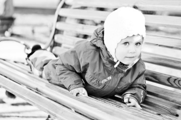 toddler on the bench