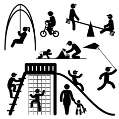 icons of people on children playground