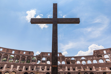 Crucifixion inside the roman colosseum