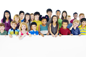Multi-Ethnic Group of Children Holding Empty Concept