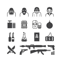 Icons set terrorist vector design.