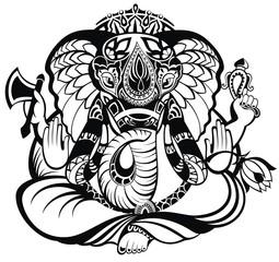 Vector illustration of an Indian god Ganesha