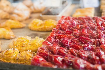 Pastry with fruit on counter