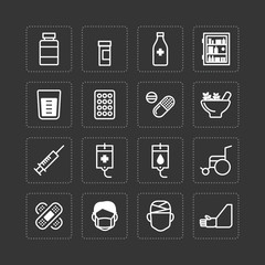 Vector flat icons set of medical & health care outline concept.