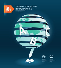 Education and graduation infographic world paper cut design.