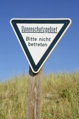 Schild Dünenschutzgebiet, Düne  Helgoland, Nordsee