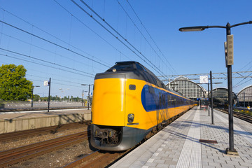 Train leaving Amsterdam Station
