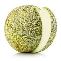 Ripe melon with slice isolated on white with clipping path