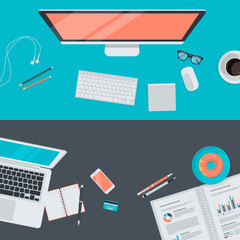 Flat design concept of modern workspace, top view