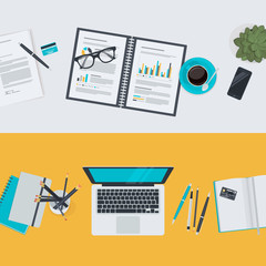Set of flat design concepts for business and finance