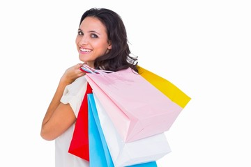 Pretty brunette with shopping bags