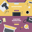 Set of flat design concepts for business and marketing