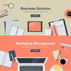 Flat design concepts for business and marketing management.