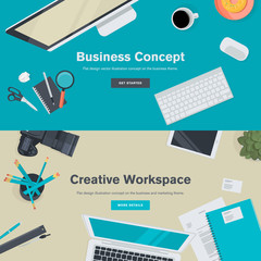 Flat design concepts for business and creative workspace