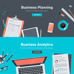 Flat design concepts for business planning and analytics