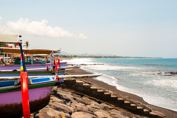 Typical indoneisan boats called jukung on the beach of Lovina, B