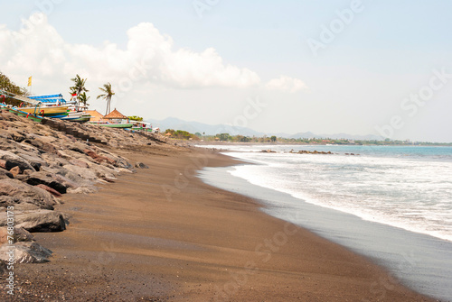 Lovina beach with typical indonesian boats, Bali - 76803173