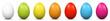Ostereier, Eier, Ostern, nebeneinander, farbig, bunt, gefärbte - 76803522