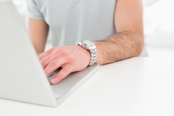 Businessman with watch using laptop