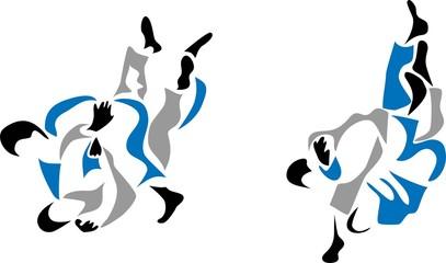 stylized judo fight