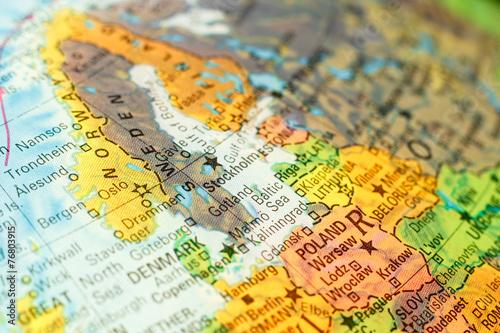Foto op Aluminium Scandinavië map of Sweden. Close-up image