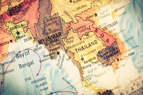 Fotobehang Overige Map Myanmar and Burma,