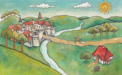 Landscape with Castle. A rider arrives riding a medieval castle
