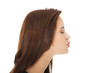 Young woman giving kiss