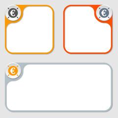 set of three vector frames and euro symbol