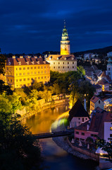 Night scene in Cesky Krumlov with castle and river