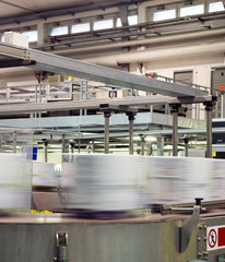 industrial production line, conveyor belt with packaging boxes