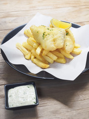 Fish and Chips on wooden table, Food cafe Restaurant