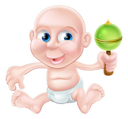 Happy cartoon baby playing