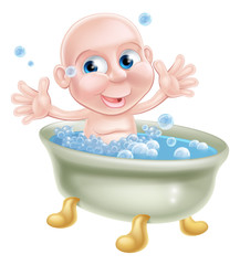 Happy cartoon baby in bath