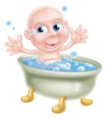 Happy cartoon baby in bath