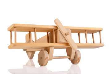 wooden airplane toy isolated on white background
