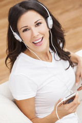 Young Woman Girl Listening to MP3 Player Headphones