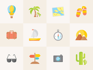 Vector summer icons. Flat design trend.