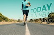 Composite image of athletic man jogging on open road - 76806597