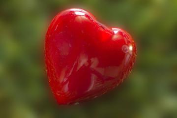 Rotes Herz, grüner Hintergrund