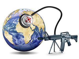 Globus mit Maschinengewehr und Stethoskop. Terrorgefahr, Kriseng