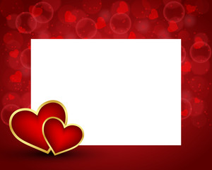 Valentine's day background with blank card and two hearts