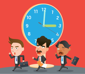 Business corporation lateness concept flat character